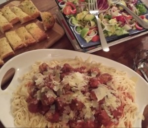 Meat balls and spag w salad and bread